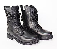 Осенние ботинки женские. Цвет черный. Натуральная кожа.