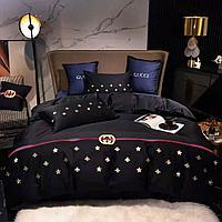 Комплект постельного белья из сатина двуспальный GUCCI с вышивкой
