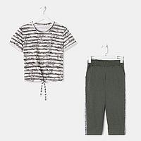 Костюм женский (футболка, бриджи) Fashion sports 376-3 хаки р. 44