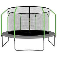 Батут ONLITOP, d=427 см, с внутренней защитной сеткой, цвет серый/салатовый