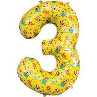 """Шар фольгированный 34"""" цифра 3 Три Кота, Желтый, 1 шт. в упак."""