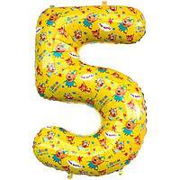 """Шар фольгированный 34"""" «Цифра 5», Три Кота, жёлтый, 1 шт. в упаковке"""