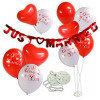 Шар воздушный Свадебный набор каучук бело-красный + баннер JUST MARRIED