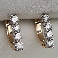 Золотые серьги с бриллиантами 0.51Ct VS2/J, VG-Cut, фото 1