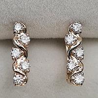 Золотые серьги с бриллиантами 0.33Ct SI1/I, VG-Cut, фото 1
