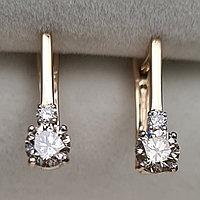 Золотые серьги с бриллиантами 0.50Ct VS2/I, VG-Cut, фото 1