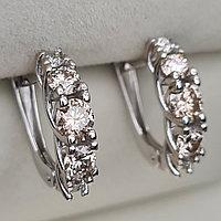 Золотые серьги с бриллиантами 1.17Ct SI1-SI2/K-L, VG-Cut, фото 1