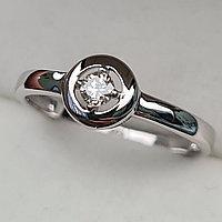 Золотое кольцо с бриллиантами 0.12Сt VS2/K, VG - Cut, фото 1