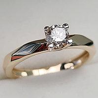 Золотое кольцо с бриллиантами 0.26Сt SI1/I, VG-Cut, фото 1