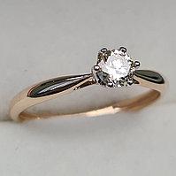 Золотое кольцо с бриллиантами 0.27Сt SI2/L, VG-Cut, фото 1