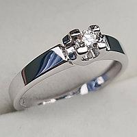 Золотое кольцо с бриллиантами 0.10Сt VS1/J, VG - Cut, фото 1