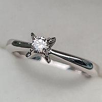 Золотое кольцо с бриллиантами 0.11Сt VS1/L, VG - Cut, фото 1