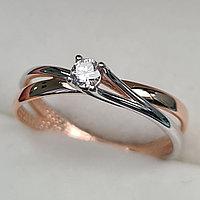 Золотое кольцо с бриллиантами 0.11Сt SI1/I, VG - Cut, фото 1