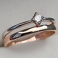 Золотое кольцо с бриллиантами 0.10Сt VS2/J, VG - Cut, фото 1