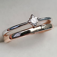 Золотое кольцо с бриллиантами 0.11Сt VS2/I, VG - Cut, фото 1
