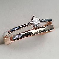 Золотое кольцо с бриллиантами 0.10Сt SI1/I, VG - Cut, фото 1