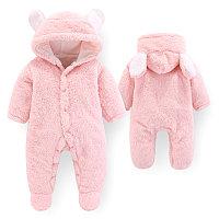 Детский плюшевый комбинезон Мишка для новорожденных розовый
