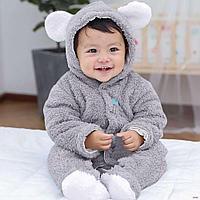 Детский плюшевый комбинезон Мишка для новорожденных серый