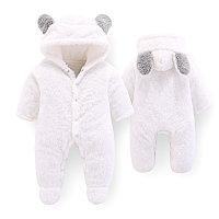 Детский плюшевый комбинезон Мишка для новорожденных белый