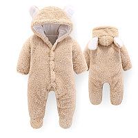 Детский плюшевый комбинезон Мишка для новорожденных бежевый
