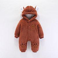 Детский флисовый комбинезон с капюшоном Мишка с лапками коричневый