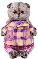 Мягкая игрушка BASIK в пиджаке в сиреневую клетку, 22 см 1228518