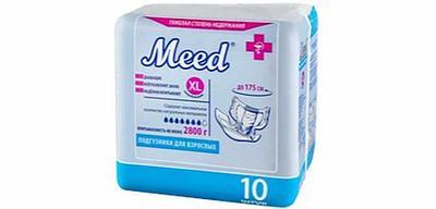 """Подгузники для взрослых """"Meed"""" ПВТ-XL 10 штук"""