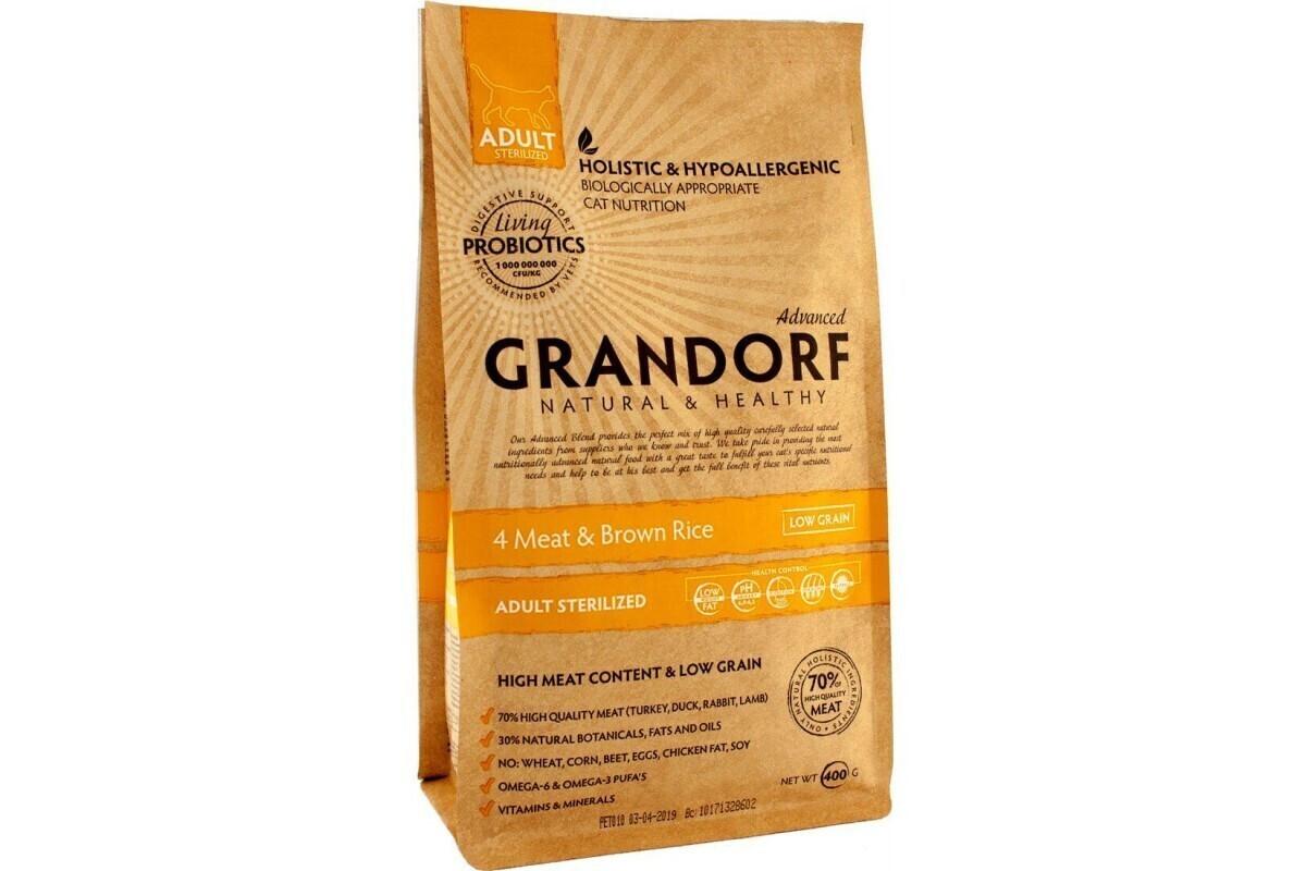 Grandorf Сухой корм для стерилизованных кошек, 4 мяса с рисом, 400 гр