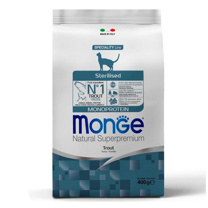 Monge Сухой корм для стерилизованных кошек с форелью, 400 гр