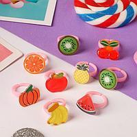 Кольцо детское 'Выбражулька' фрукты и овощи, глянец, форма МИКС, цветное, безразмерное (комплект из 100 шт.)