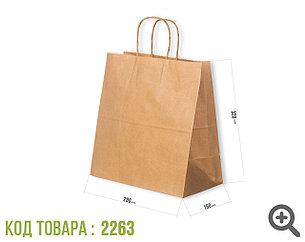 Крафт пакет, бурый с крученной ручкой 70гр 280*150*320 (250шт/уп)