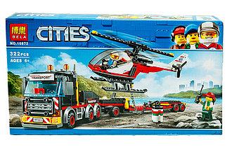 Bela Cities 10872 Конструктор Перевозчик вертолета, 322 деталей (Аналог LEGO 60183)