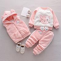 Детский костюм тройка весна - осень розовый/котик, фото 1
