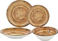 Турецкий Столовый сервиз фарфор 100% BY BONE BREEZE 24 предмета коричневый