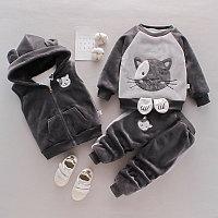 Детский костюм тройка весна - осень серый/котик, фото 1