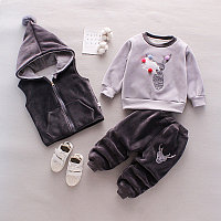 Детский костюм тройка весна - осень серый/олененок, фото 1