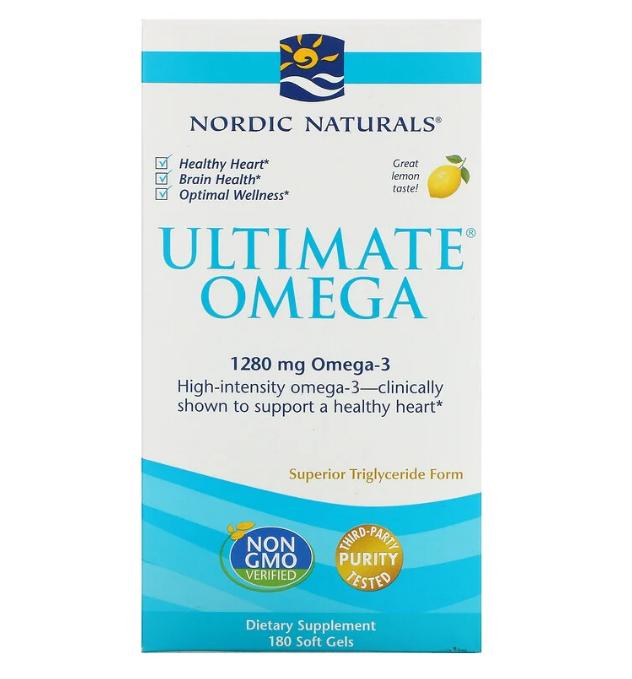 Nordic Naturals, Ultimate Omega, со вкусом лимона, 1280 мг, 180 капсул