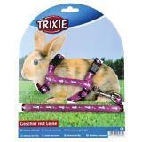 Trixie Шлейка с поводком для кролика, 10 мм/1,20 м, нейлон с рисунком