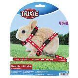 Trixie Шлейка с поводком для крольчат, 8 мм/1,20 м, нейлон с рисунком