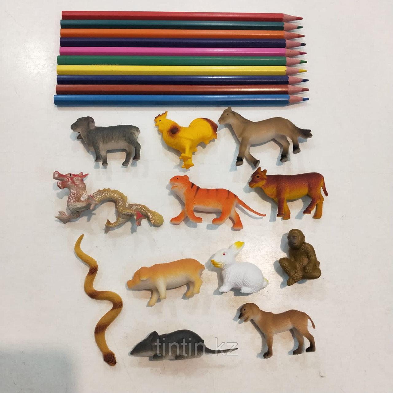 Набор из 12 резиновых животных «Восточный гороскоп»