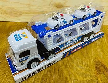 704-1 трейлер полицейский средний белый 4 машины 30*11см