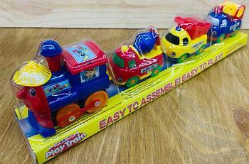 18008E Play train порозик на магните 3 строй техника в колбе 33*10см на батар