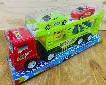8818C Truck цветной трейлер 4 машина в колбе 34*14см
