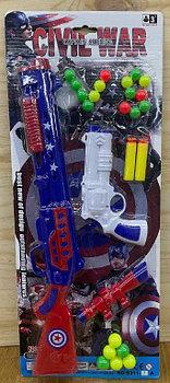 9311-9A Civil war captain america Венчестер+пистолет+пульки на картоне 52*21см
