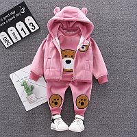 Детский костюм тройка весна - осень Мишутка розовый
