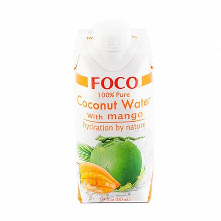 FOCO Вода кокосовая  с соком манго,  0,33 л