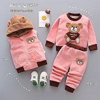 Детский костюм тройка весна - осень Мишка розовый