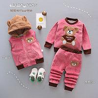 Детский костюм тройка весна - осень Мишка ярко розовый