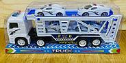 8818B Police трейлер полицей белый 4 машины в колбе 34*15см, фото 3