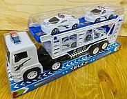 8818B Police трейлер полицей белый 4 машины в колбе 34*15см, фото 2